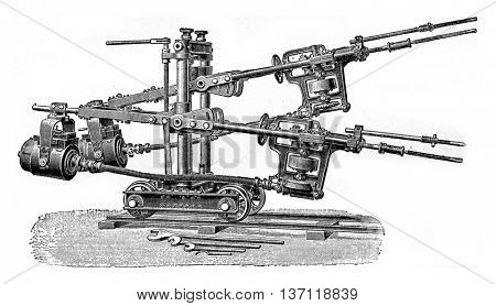 Power Perforator, vintage engraved illustration. Industrial encyclopedia E.-O. Lami - 1875.