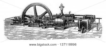 Apparatus of staged air compression and water injection, vintage engraved illustration. Industrial encyclopedia E.-O. Lami - 1875.