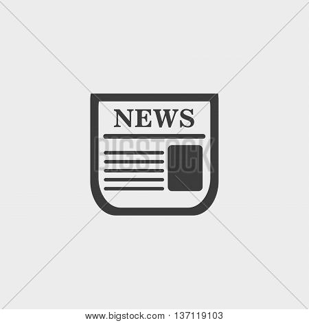News icon in a flat design in black color. Vector illustration eps10
