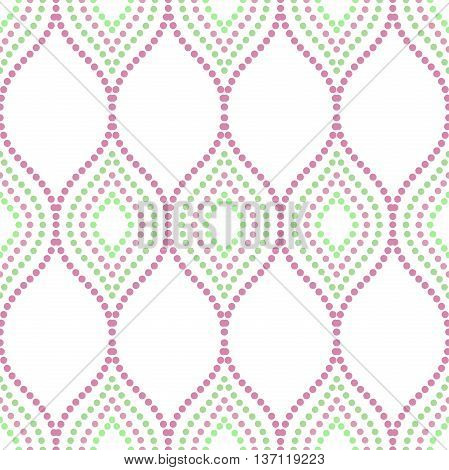 Seamless vector ornament. Modern geometric pattern with repeating dotted wavy lines. Purple and green pattern