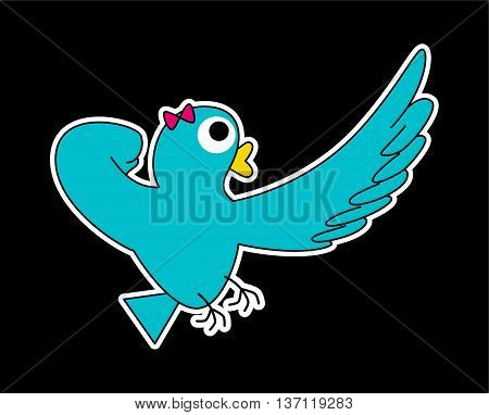 A turquoise Super Lady-bird she's pointing at something faraway. (White stroke version)