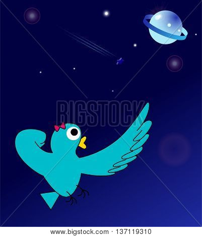 Turquoise green bird or Super Lady-bird. She wants to go to and protect the planet.