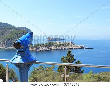 viewpoint over the sea with binoculars and view to the sea