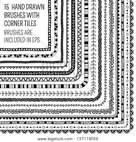 Vector set of fifteen hand drawn brushes with corner tiles. Pattern of different colors for frames, borders and design elements. Vector isolated illustration. Brushes are included in eps.