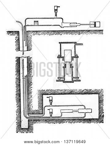 Diagram of hydraulic transmission pump, vintage engraved illustration. Industrial encyclopedia E.-O. Lami - 1875.