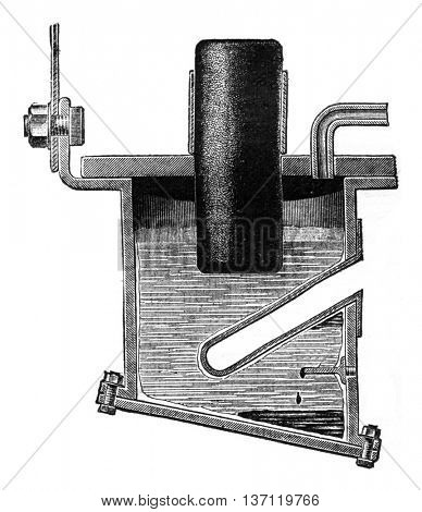 Apparatus for the preparation of alkaline earth metals by electrolysis, vintage engraved illustration. Industrial encyclopedia E.-O. Lami - 1875.