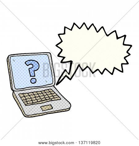 freehand drawn comic book speech bubble cartoon laptop computer with question mark
