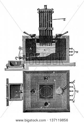 Herault device changes, and Superior vertical section view, vintage engraved illustration. Industrial encyclopedia E.-O. Lami - 1875.