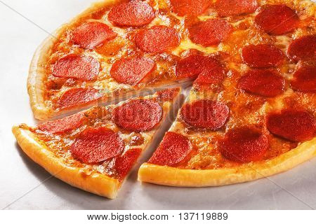 pepperoni pizza in still life close-up on top