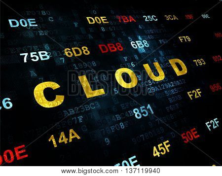 Cloud computing concept: Pixelated yellow text Cloud on Digital wall background with Hexadecimal Code