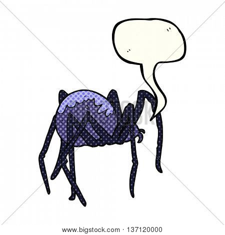 freehand drawn comic book speech bubble cartoon creepy spider