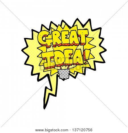 freehand drawn comic book speech bubble cartoon GREAT IDEA! symbol