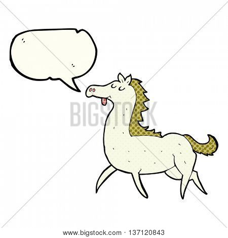 freehand drawn comic book speech bubble cartoon horse