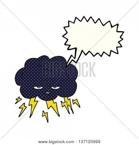 freehand drawn comic book speech bubble cartoon thundercloud