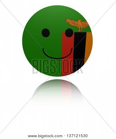 Zambia happy icon with reflection 3d illustration