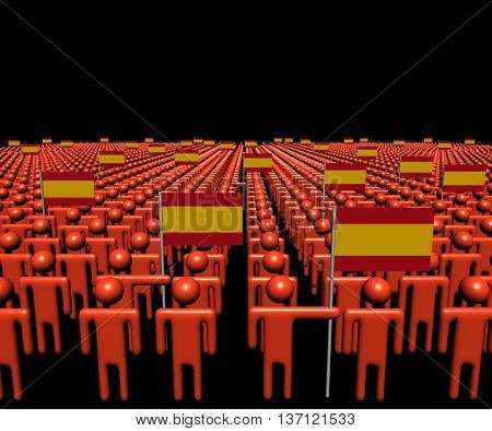 Crowd of abstract people with many Spanish flags 3d illustration
