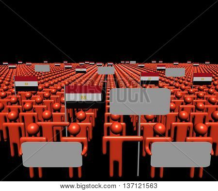 Crowd of people with signs and Egyptian flags 3d illustration