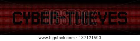 Cyber Thieves text on red laptops background illustration