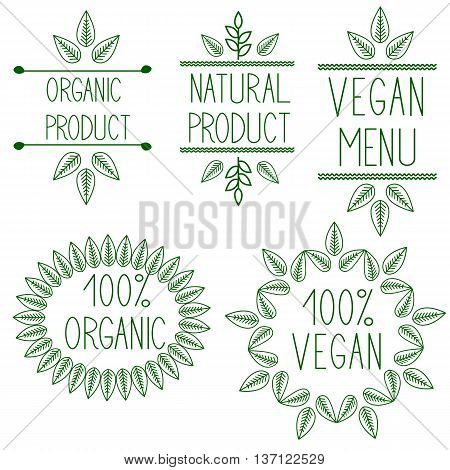 Set of badges,labels,logo,floral elements,wreaths and laurels.Organic,bio,natural design template.Hand drawing painting. Green Logotype maker