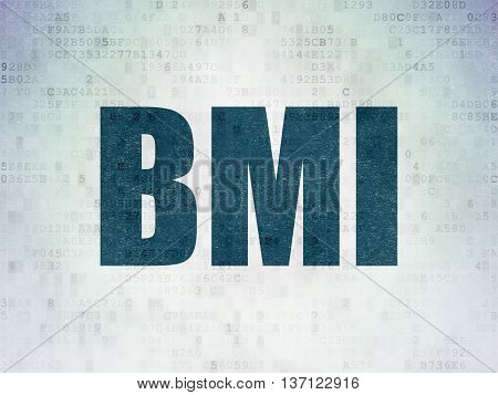 Health concept: Painted blue word BMI on Digital Data Paper background
