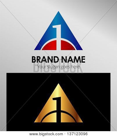 Number one 1 logo with triangle icon template