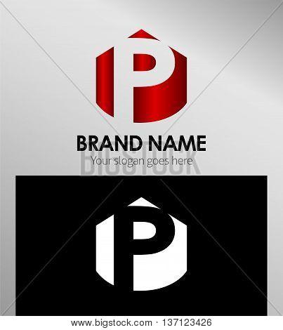 Letter p Alphabetical Logo Design Concepts template design vector
