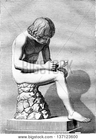 The Shooter thorn, antique bronze, top 2 and a half feet, vintage engraved illustration. Magasin Pittoresque 1836.