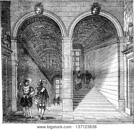 View of Henri II staircase at the Louvre, vintage engraved illustration. Magasin Pittoresque 1843.
