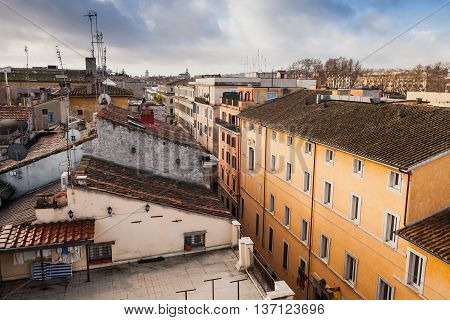 Old Rome, Italy. Via Del Corso Roofs