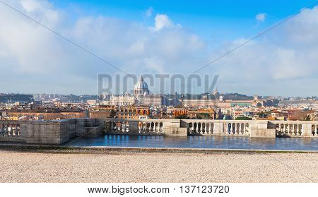 Panoramic Cityscape Of Rome, Italy In Summer