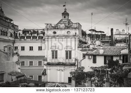 Skyline Of Old Rome, Italy. Via Del Corso, Retro