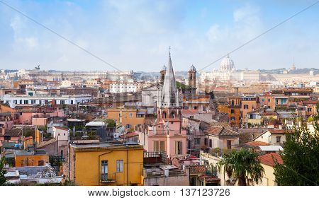 Old Rome, Italy. Spire Of All Saints Church