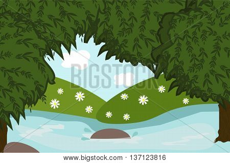 Beautiful forest scenery in cartoon style, river, lake, vector illustration