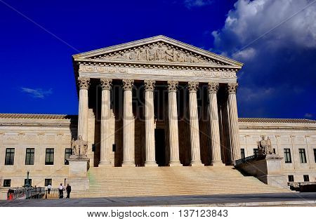 Washington DC - April 9 2014: Neo-classical west front of the United States Supreme Court on First Street SE *