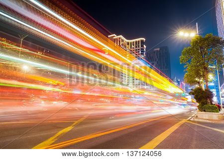 the colorful light trails on the street in guangzhou