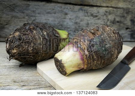 Taro on wooden. exotic, detail, food, eating, asian, raw,