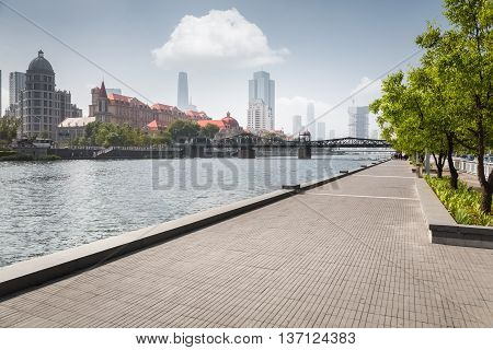 tianjin cityscape beauty riverside of the haihe river