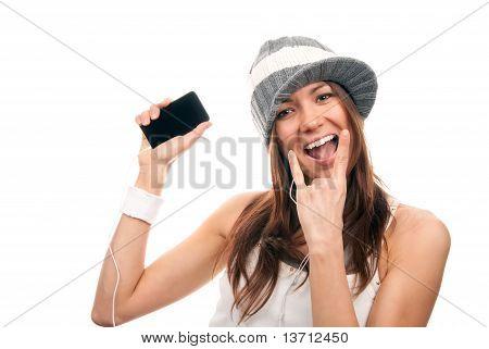 Pretty Rock Girl Showing Rock N Roll Cellular