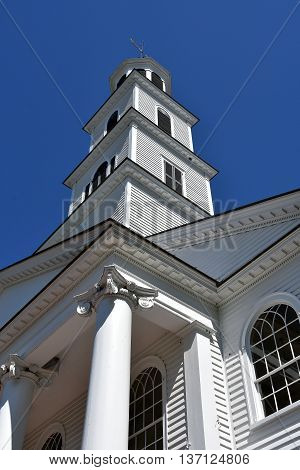 New Bern North Carolina - April 24 2016: Three tiered steeple with cupola atop the 1822 First Presbyterian Church