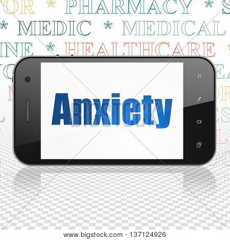 Health concept: Smartphone with  blue text Anxiety on display,  Tag Cloud background, 3D rendering
