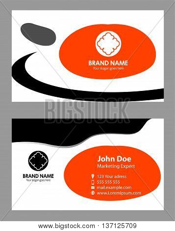 Creative and Clean Business Card Template. Black and orange