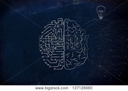 Human And Circuit Brain Having An Idea (lightbulb)