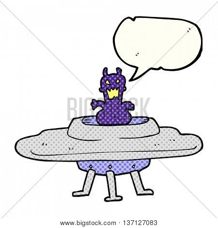 freehand drawn comic book speech bubble cartoon alien in flying saucer
