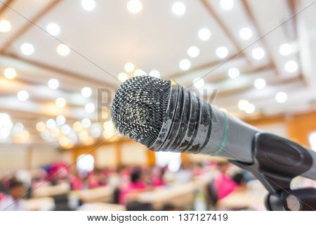 Old Black microphone in conference room