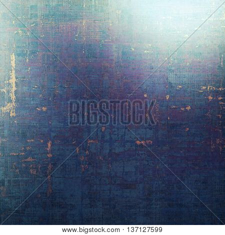 Scratched background with retro style overlay. Aged texture with different color patterns: yellow (beige); blue; black; gray; purple (violet); cyan