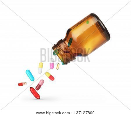 Pills falling from a jar on a white background