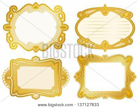 Set of label designs with gold foil effect