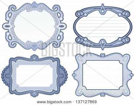 Set of four pewter metallic effect border designs
