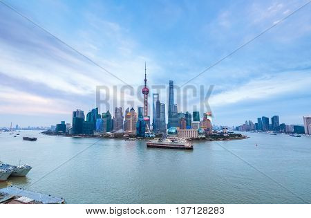 shanghai cityscape in afternoon a panoramic view of pudong skyline and huangpu river