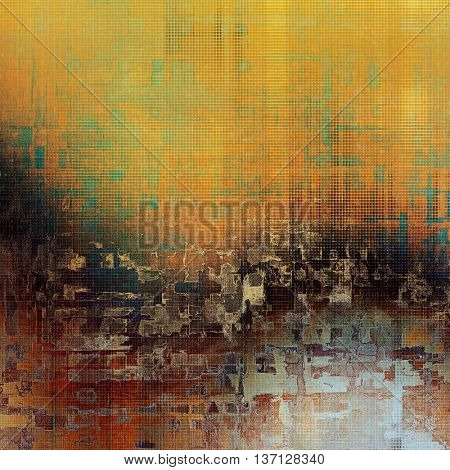 Vintage decorative background, antique grunge texture with different color patterns: yellow (beige); brown; blue; red (orange); gray; cyan